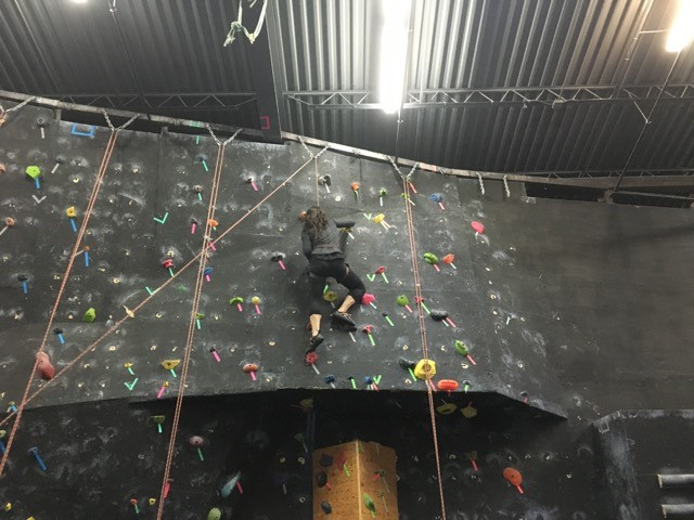 A CAN Lab member climbing along a horizontal rock wall